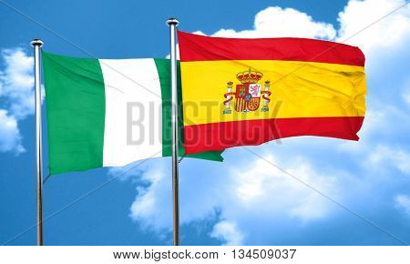Nigeria flag with Spain flag, 3D rendering