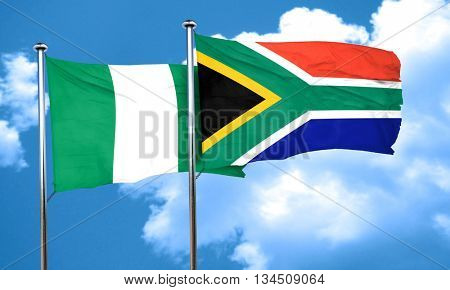 Nigeria flag with South Africa flag, 3D rendering