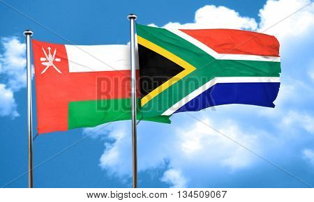 Oman flag with South Africa flag, 3D rendering
