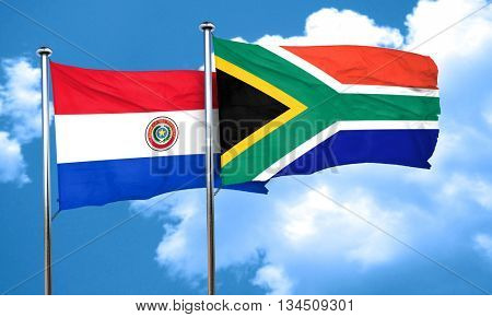 Paraguay flag with South Africa flag, 3D rendering