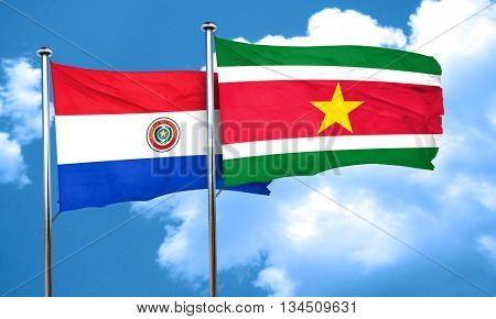 Paraguay flag with Suriname flag, 3D rendering