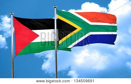 palestine flag with South Africa flag, 3D rendering