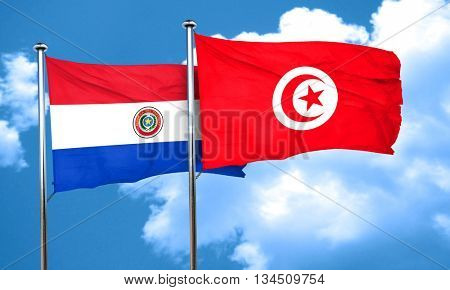 Paraguay flag with Tunisia flag, 3D rendering