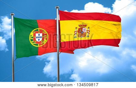 Portugal flag with Spain flag, 3D rendering