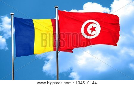 Romania flag with Tunisia flag, 3D rendering