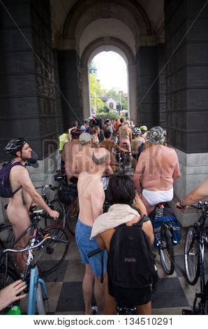 London United Kingdom. 11 June 2016. Group of people getting ready to start their bicycle ride at World Naked Bike Ride in London.