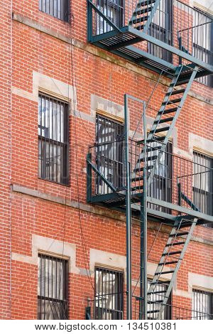 Typical New York fire escape ladders and balconies