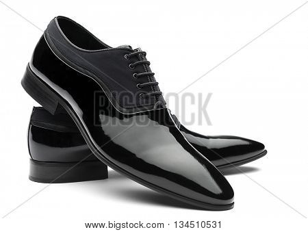 Patent Leather Men Shoes Isolated
