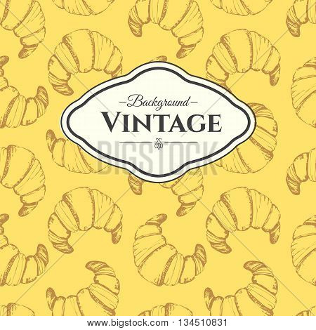 Fresh organic food. Croissant vintage pattern. Hand-drawn  vector sketch of croissant.