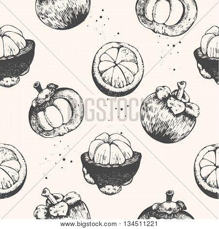 Fresh organic food. Fruits vintage pattern. Hand-drawn sketch of mangosteens. Black and white.