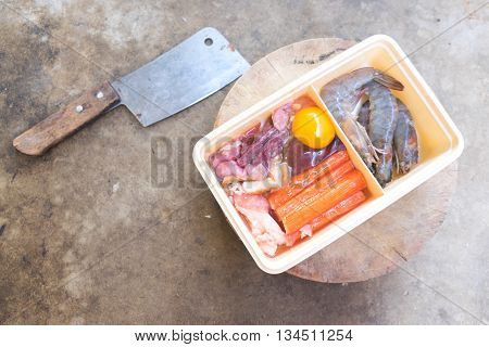 Set of raw several meat with egg yolk preparation for picnic time