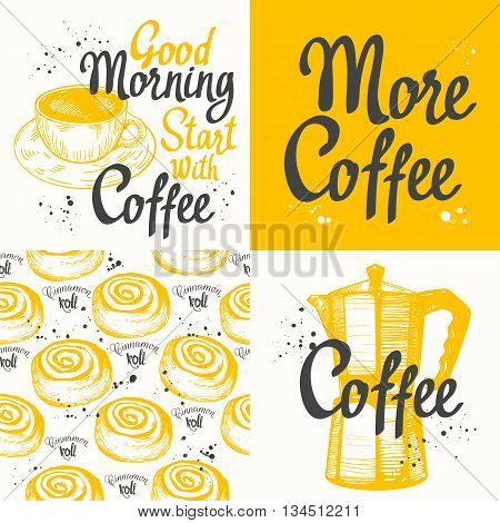 Hot drinks menu. Vector Illustration with cup, coffee maker and pattern. Decorative elements for your packing design. Multicolor decor.