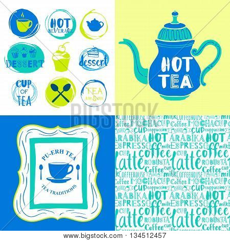 Hot drinks menu. Decorative elements for your packing design. Multicolor decor.