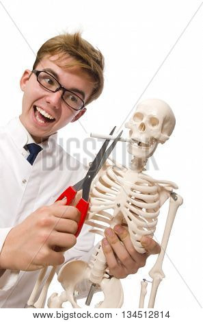 Antismoking concept with man and skeleton