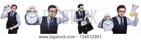 Young businessman holding alarm clock isolated on white