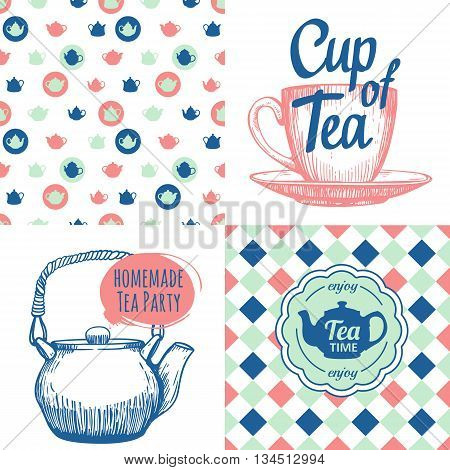 Hot drinks menu. Vector Illustration with cups, teapots and pattern. Decorative elements for your packing design. Multicolor decor.