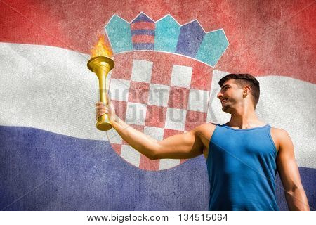 Low angle view of sportsman holding a cup against digitally generated croatia national flag
