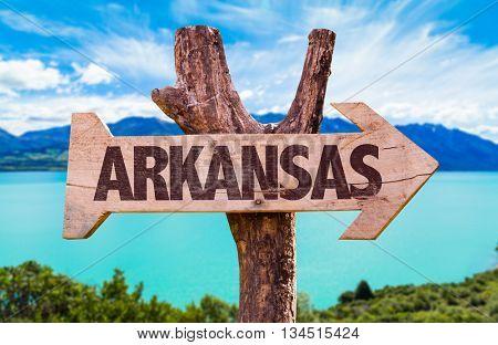 Arkansas directional arrow in a river