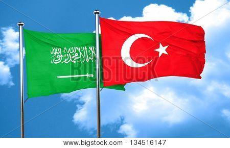 Saudi Arabia flag with Turkey flag, 3D rendering