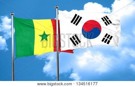 Senegal flag with South Korea flag, 3D rendering