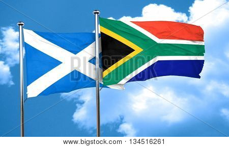 scotland flag with South Africa flag, 3D rendering