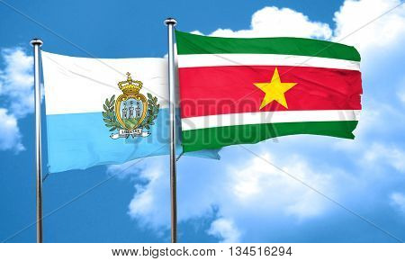 san marino flag with Suriname flag, 3D rendering