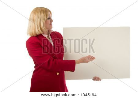 Business Woman Holding Blank Sign 2