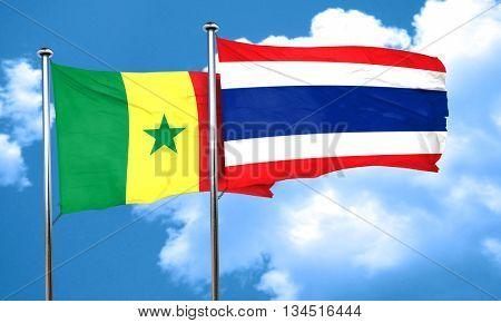 Senegal flag with Thailand flag, 3D rendering