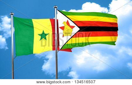 Senegal flag with Zimbabwe flag, 3D rendering
