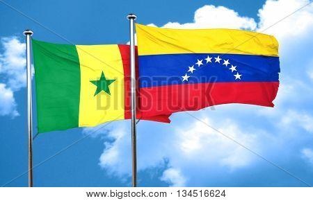 Senegal flag with Venezuela flag, 3D rendering