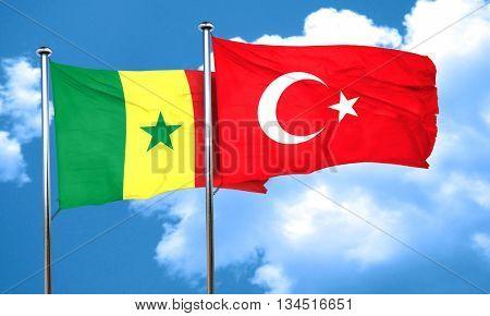 Senegal flag with Turkey flag, 3D rendering