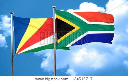 seychelles flag with South Africa flag, 3D rendering