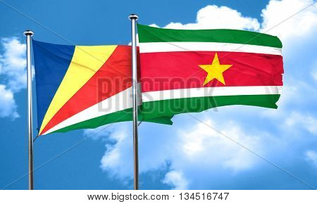 seychelles flag with Suriname flag, 3D rendering