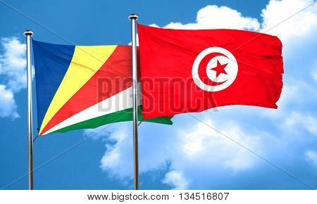 seychelles flag with Tunisia flag, 3D rendering