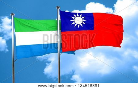 Sierra Leone flag with Taiwan flag, 3D rendering