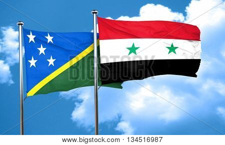 Solomon islands flag with Syria flag, 3D rendering