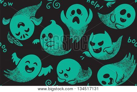 Cute green spooky ghosts on black background. Seamless vector Halloween pattern with ghosts child drawing style. Ghosts with Different Expressions