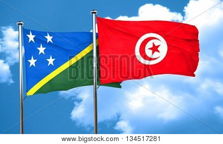 Solomon islands flag with Tunisia flag, 3D rendering
