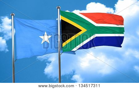 Somalia flag with South Africa flag, 3D rendering