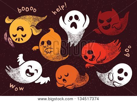 Collection of cute spooky ghosts on brown background. Halloween set with ghosts child drawing style. Ghosts with Different Expressions