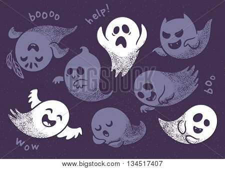 Halloween background. Seamless pattern with cute cartoon ghosts with different facial expressions on purple background