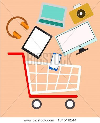 shopping cart vector, E-commerce. Shopping online. Computer and goods in the shopping cart