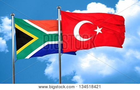 South africa flag with Turkey flag, 3D rendering