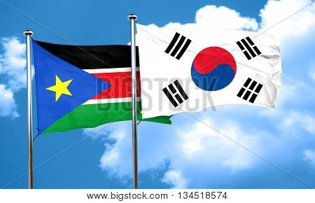 south sudan flag with South Korea flag, 3D rendering