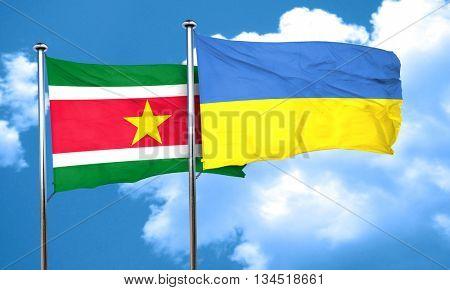 Suriname flag with Ukraine flag, 3D rendering