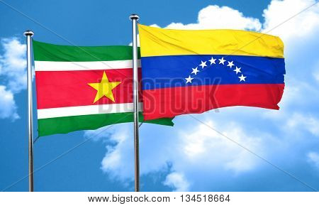 Suriname flag with Venezuela flag, 3D rendering