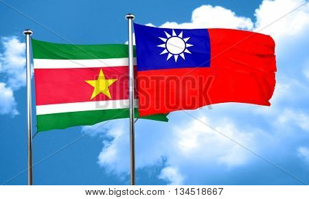 Suriname flag with Taiwan flag, 3D rendering