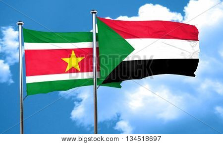 Suriname flag with Sudan flag, 3D rendering