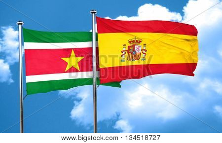 Suriname flag with Spain flag, 3D rendering