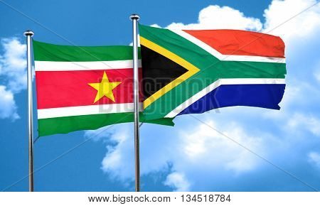 Suriname flag with South Africa flag, 3D rendering